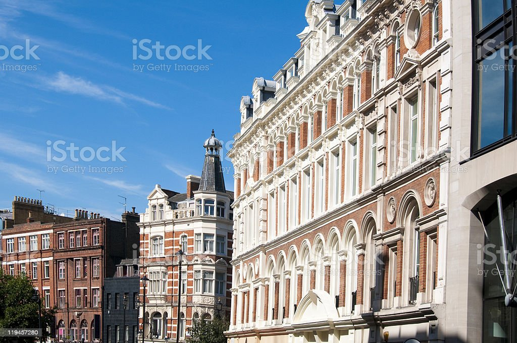 Traditional old buildings at London England stock photo