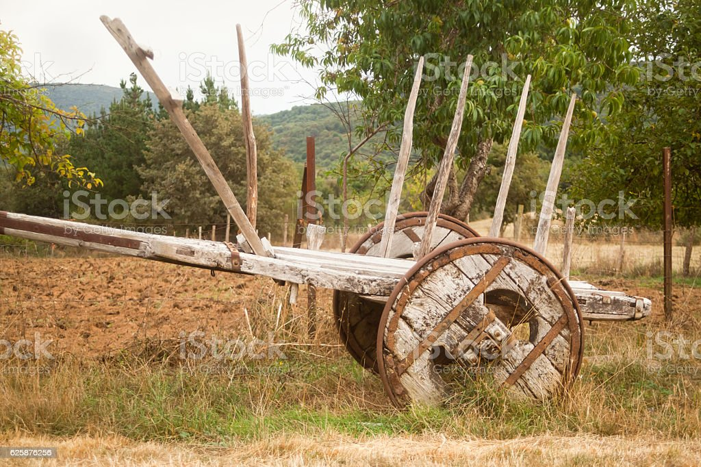 Traditional old cart in Galicia, Spain. stock photo