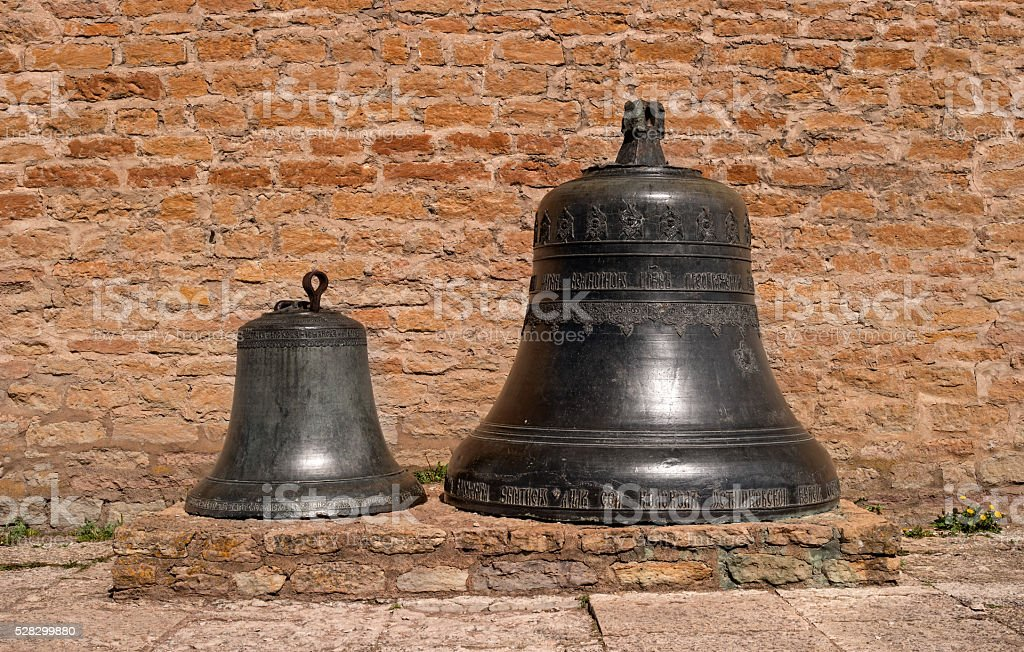 Traditional old church bells in Narva citadel. stock photo