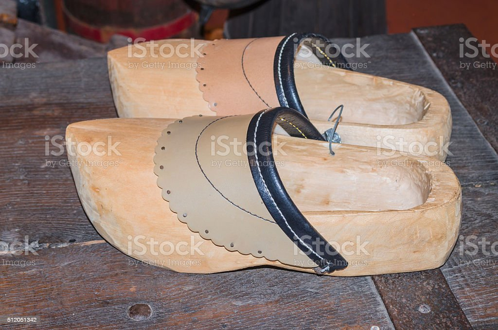 Traditional old Dutch clogs stock photo