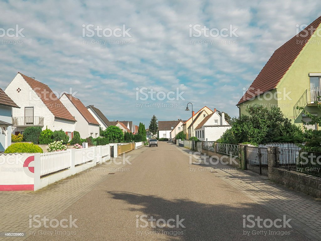 traditional old houses at street of speyer germany stock photo