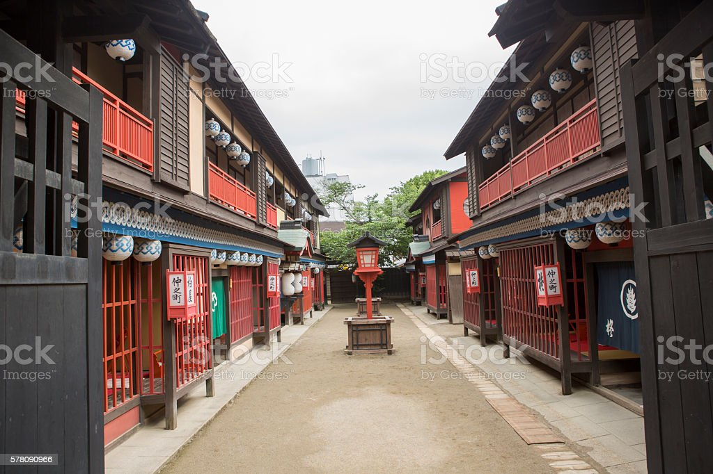 traditional old japanese town buildings in toei studio kyoto japan stock photo