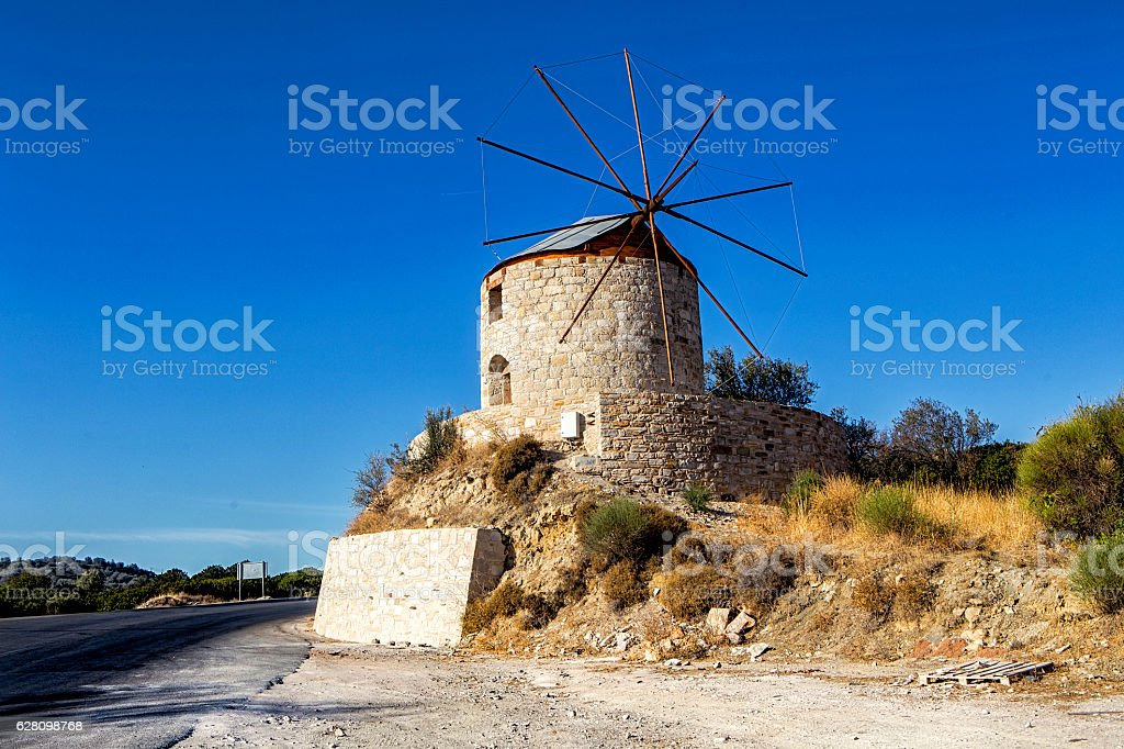Traditional old stone windmill stock photo