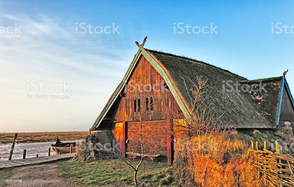 Traditional old Viking Age house hut in Bork village, Denmark royalty-free stock photo