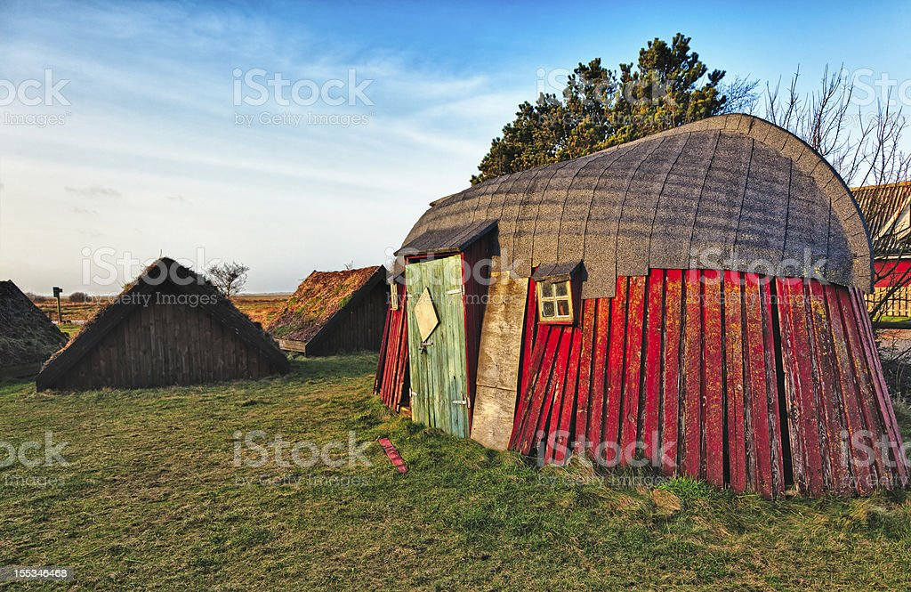 Traditional old Viking Age house hut in Bork village royalty-free stock photo