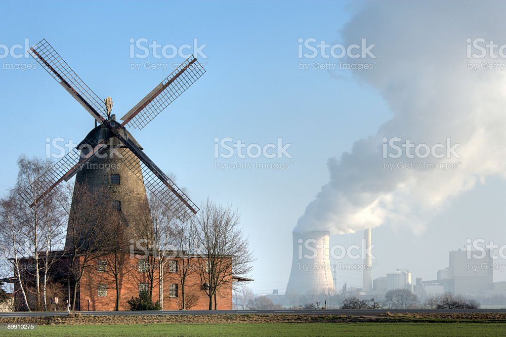 Traditional old windmill and coal-fired power station countryside (XXL) royalty-free stock photo