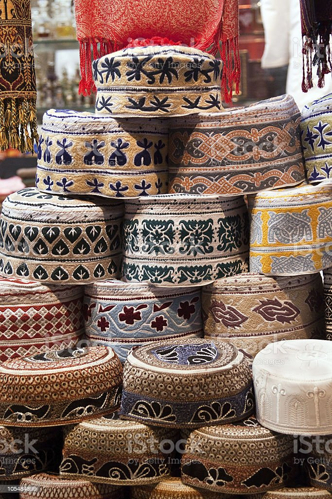 Traditional Oman men's cap display in the market royalty-free stock photo