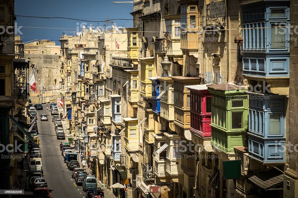 Traditional Oriel Windows in Valletta, Malta stock photo