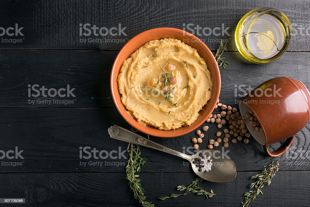 Traditional oriental hummus stock photo