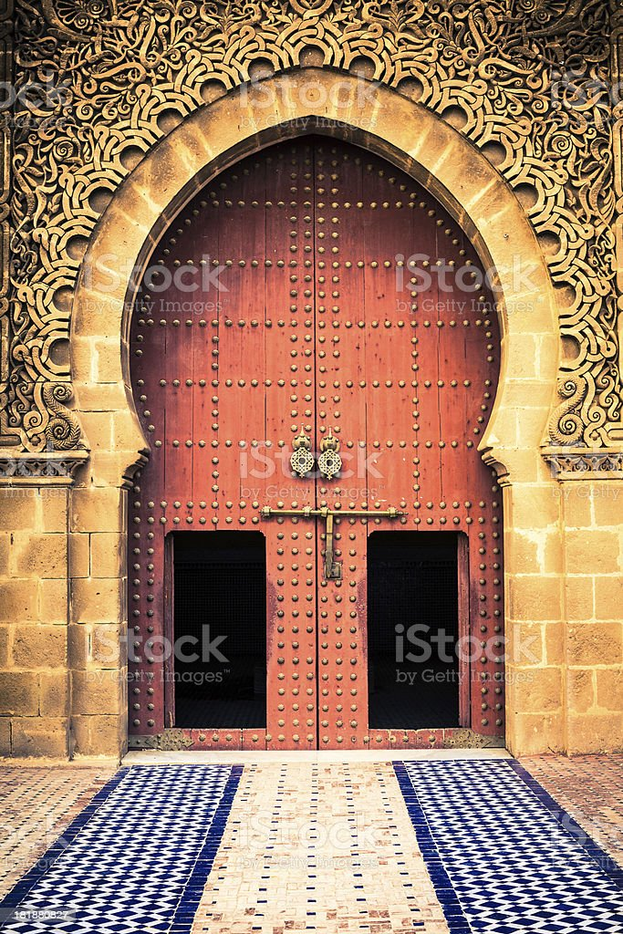 Traditional Ornate Door in Meknes, Morocco stock photo