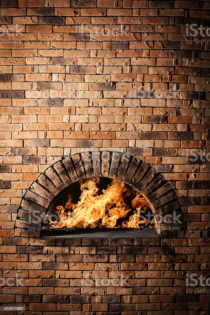 Traditional oven for cooking and baking pizza. stock photo