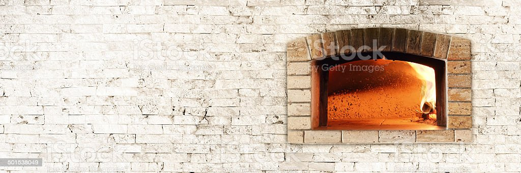 Traditional oven for pizza (horizontal background) stock photo