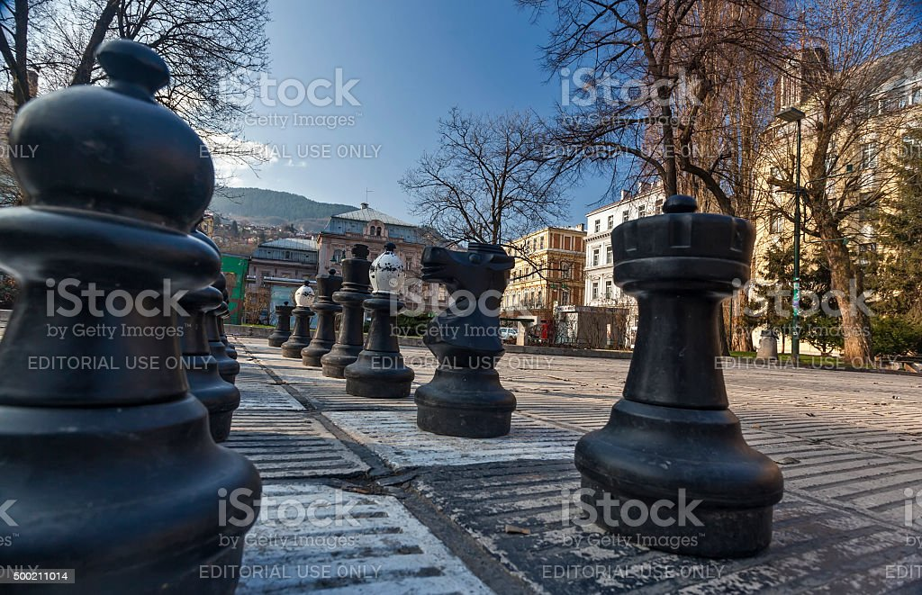 Traditional Oversized Street Chess figures 01 stock photo