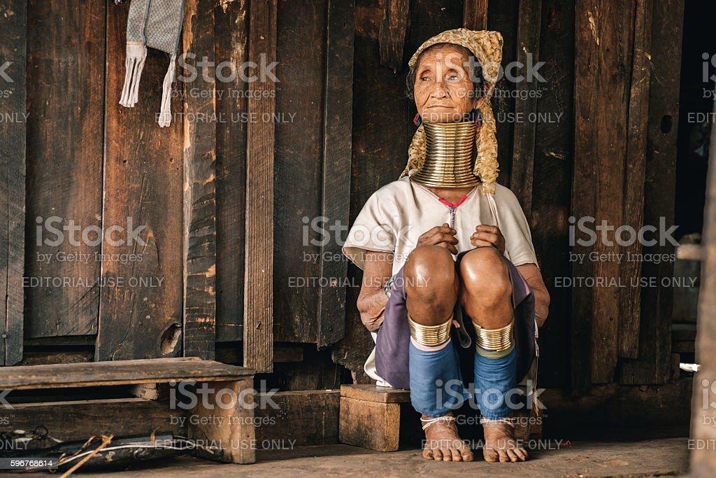 Traditional Padaung (Karen) woman from Myanmar stock photo