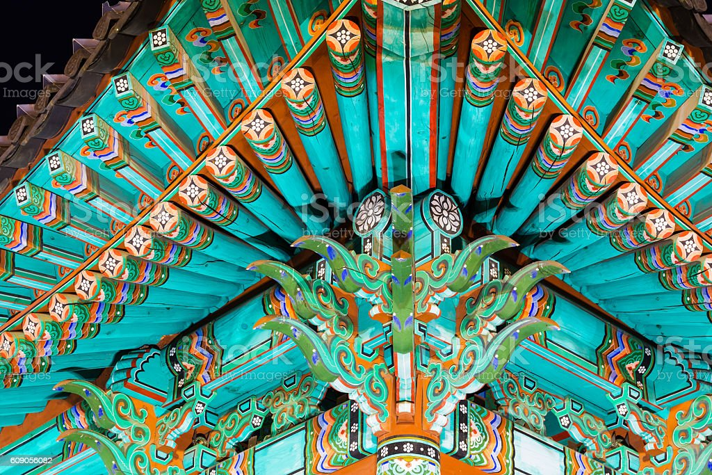 Traditional paintwork on wooden buildings, dancheong stock photo