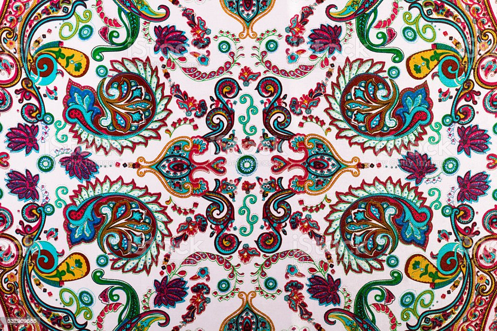Traditional paisley pattern, silk headscarf sample stock photo