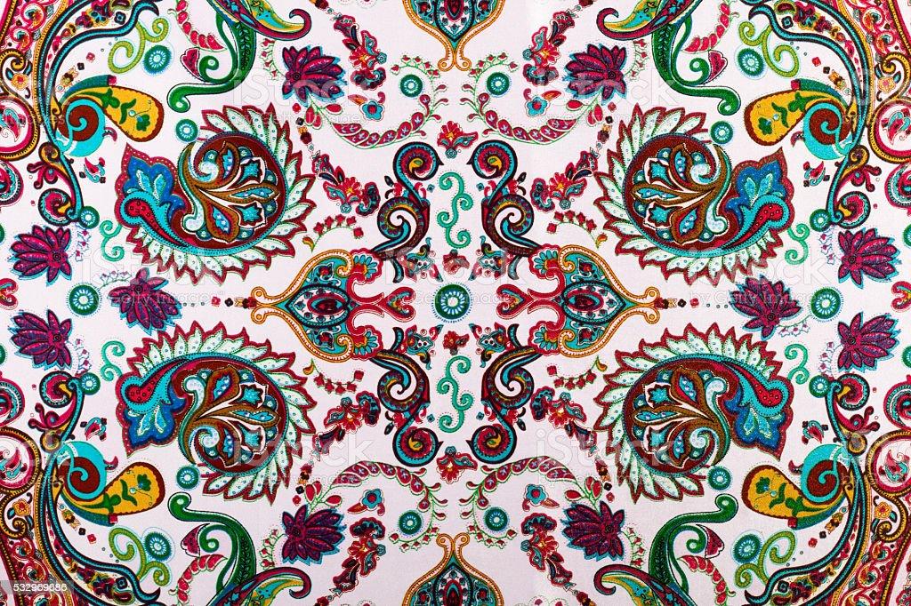 Traditional paisley pattern, silk headscarf sample stock photo
