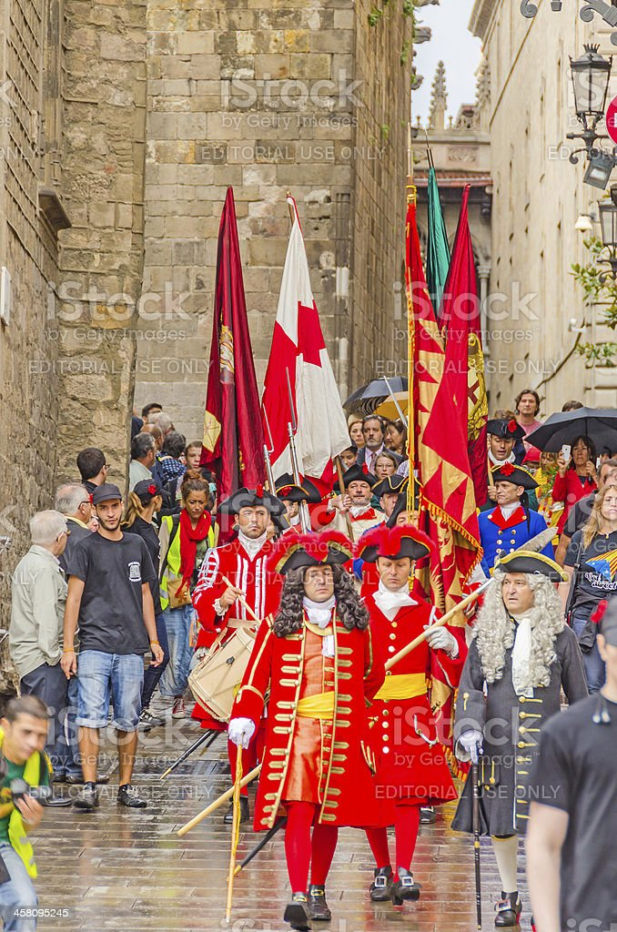 Traditional parade during the National Day of Catalonia in Barcelona royalty-free stock photo