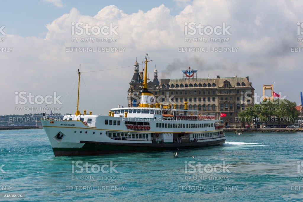 traditional passenger boat at coast of bosphorus near kadikoy istanbul turkey stock photo