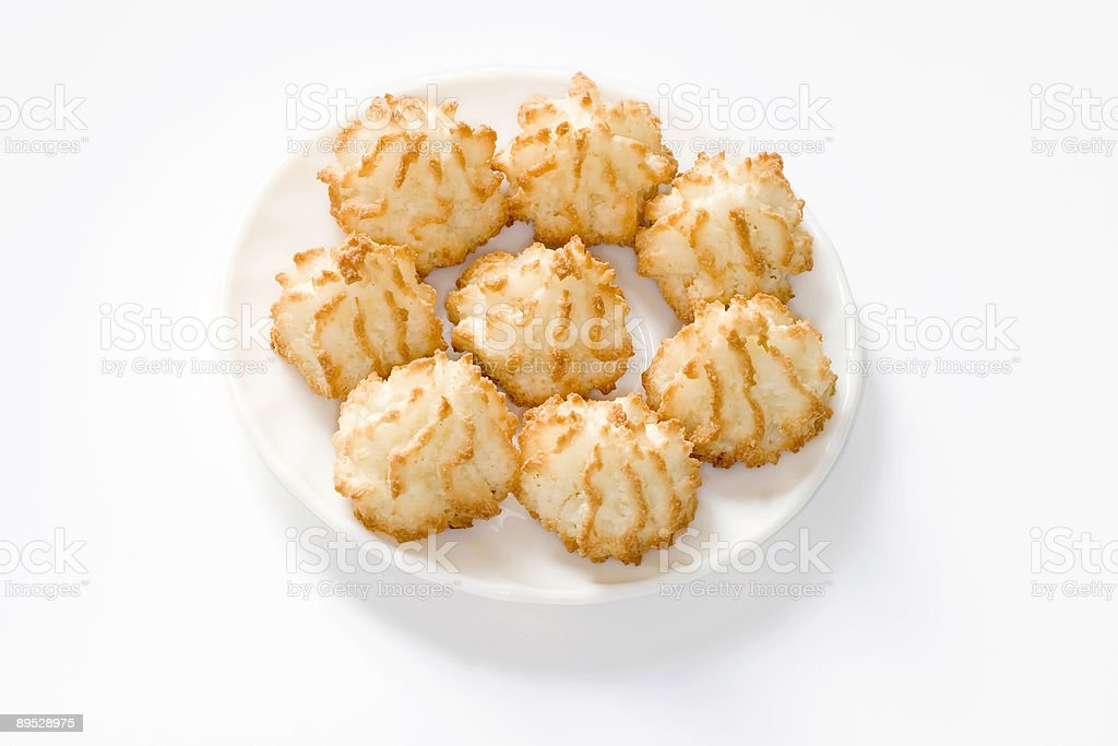 Traditional Passover Cookies - coconut macaroons stock photo