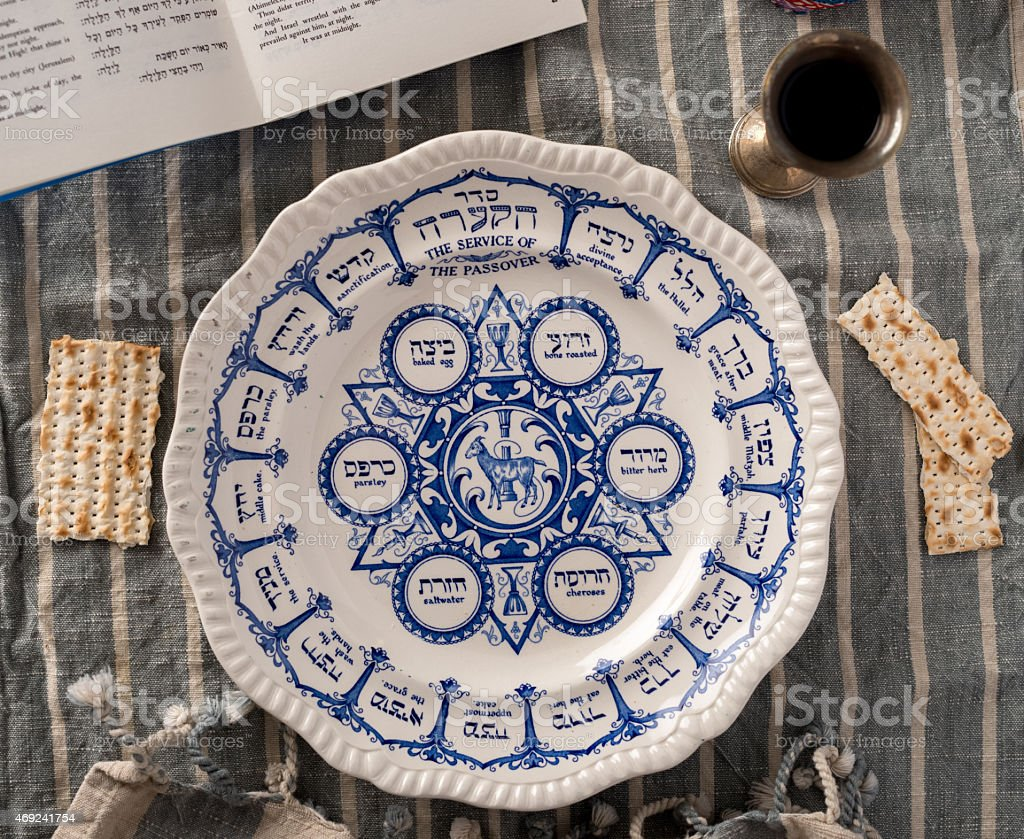 Traditional Passover Plate stock photo