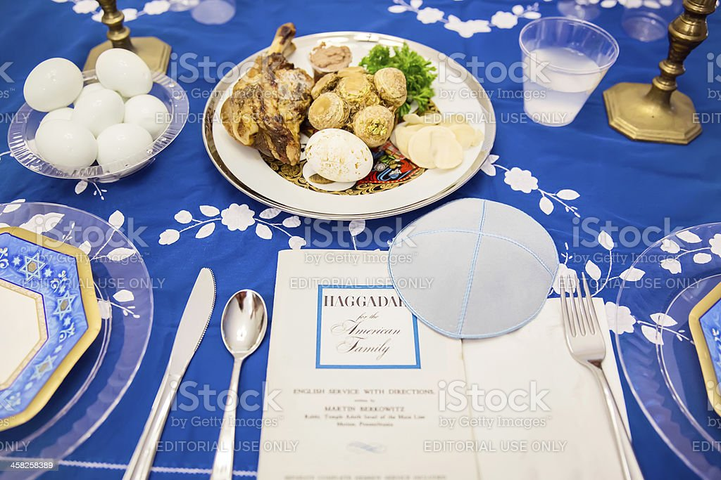 Traditional Passover Seder table stock photo
