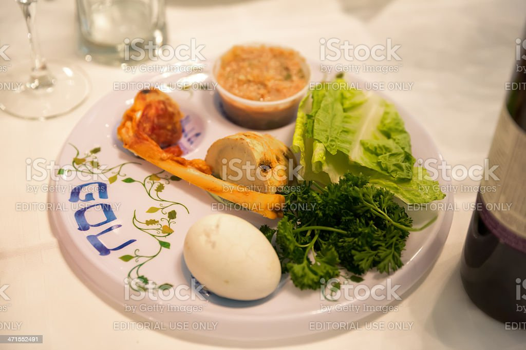 Traditional Passover Seder Table with Haggadah stock photo