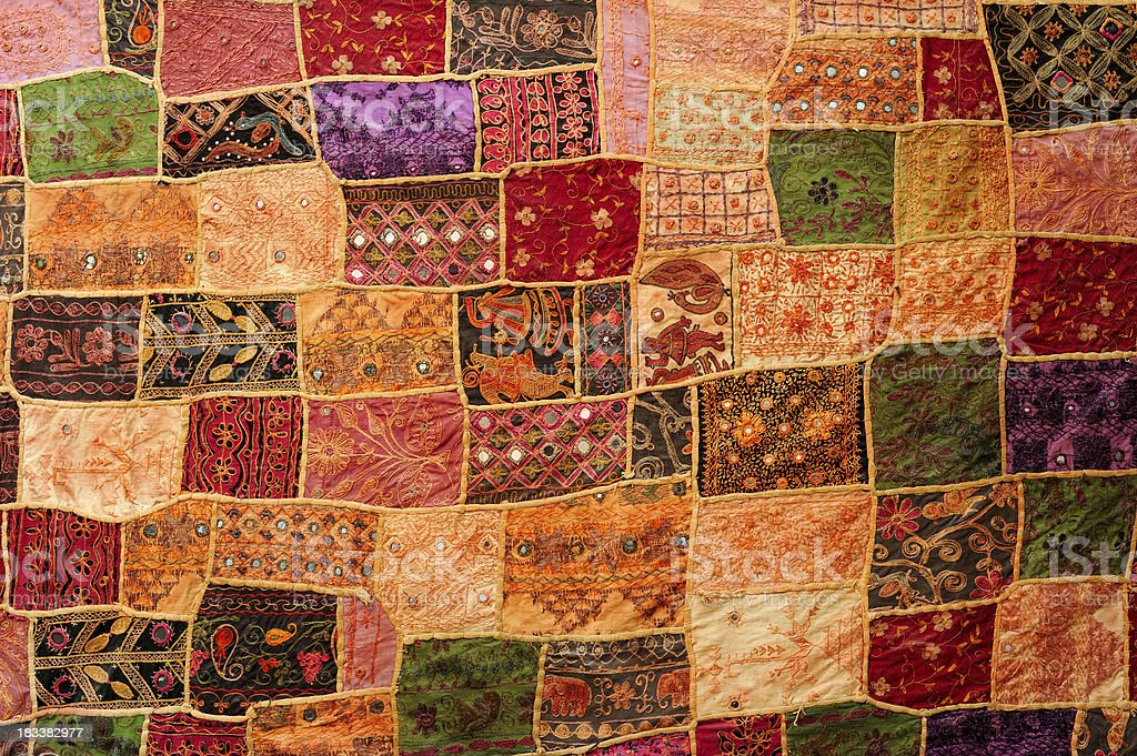 Traditional Patchwork Tapestry from India stock photo