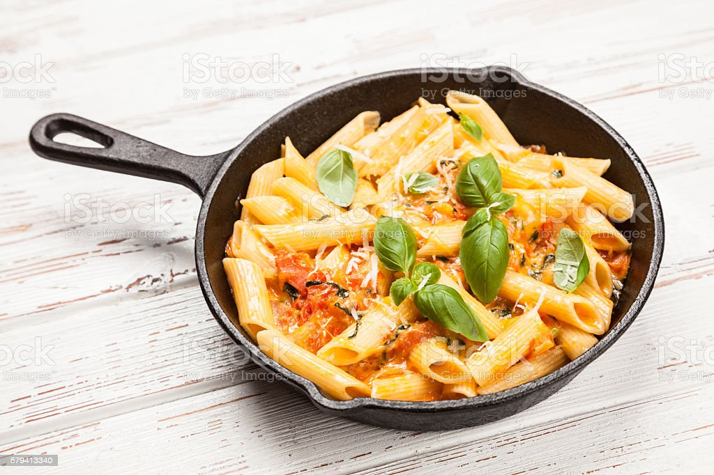 Traditional penne pasta stock photo