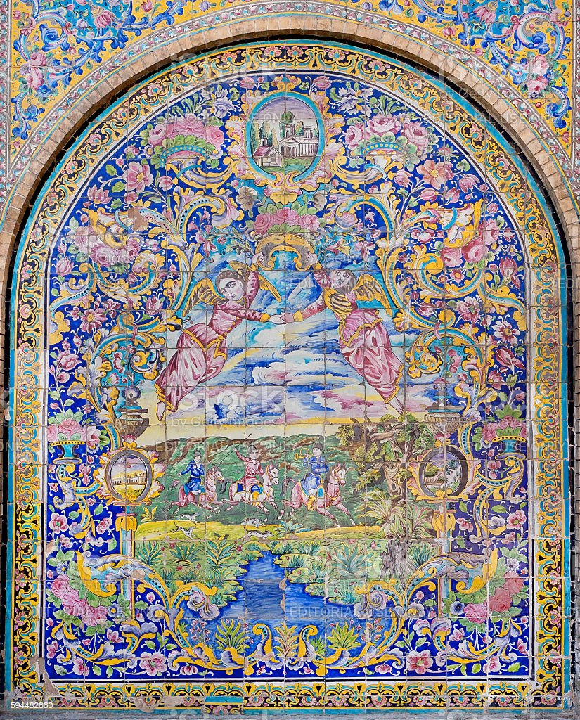 Traditional Persian tiled wall of Golestan Palace, Iran. stock photo