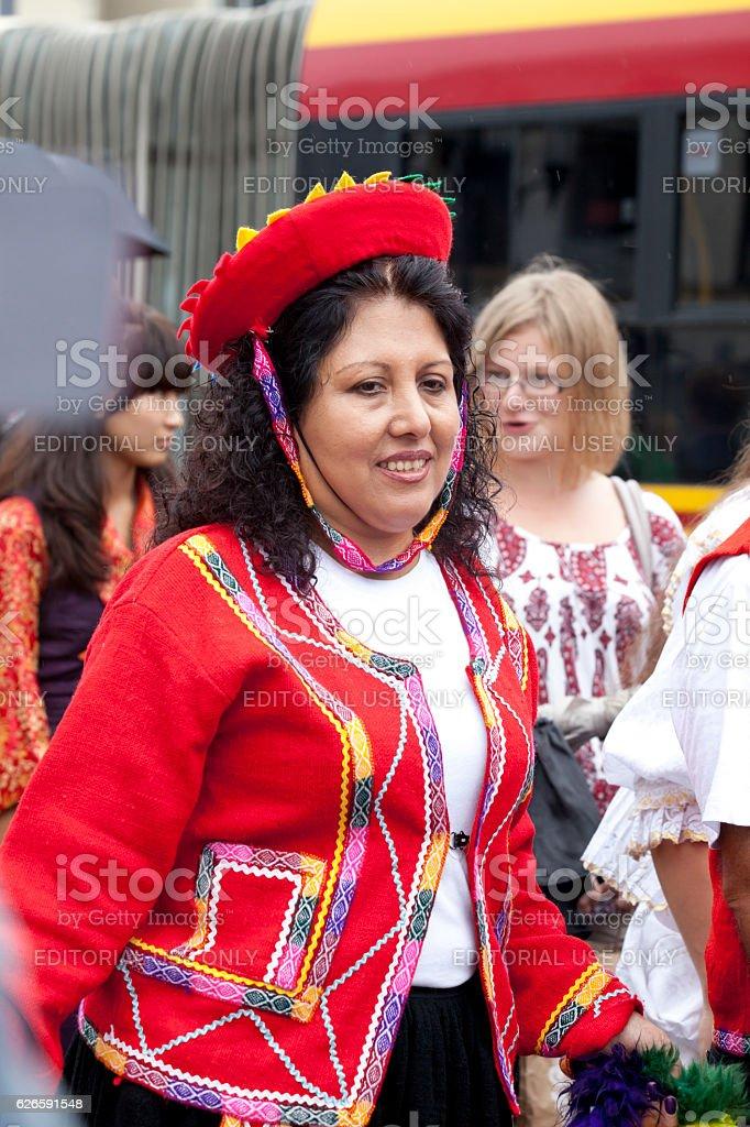 Traditional Peruvian costiume stock photo
