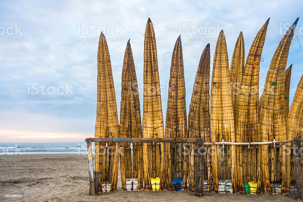 Traditional Peruvian small Reed Boats in Peru stock photo