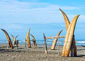 Traditional Peruvian small Reed Boats