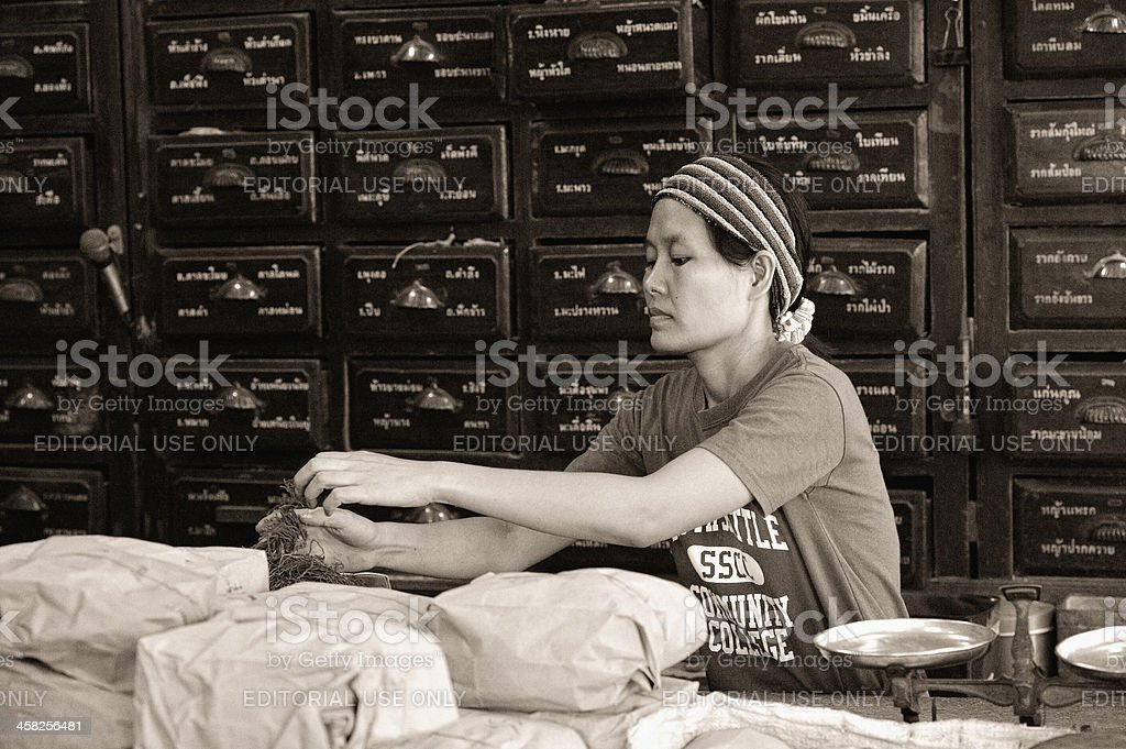 Traditional Pharmacy in Bangkok Thailand stock photo