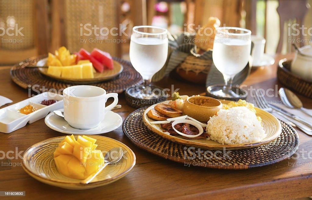 Traditional Philippino breakfast with garlic rice stock photo
