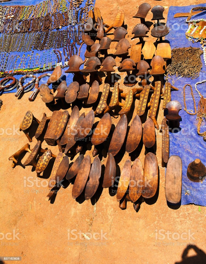Traditional pillow-bench at handicrafts local market Kei Afer, Omo valley, Ethiopia stock photo