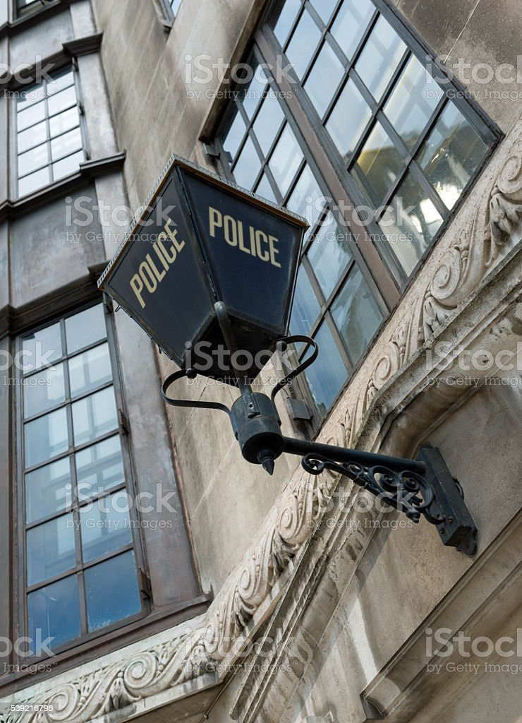 Traditional Police Lamp in London stock photo