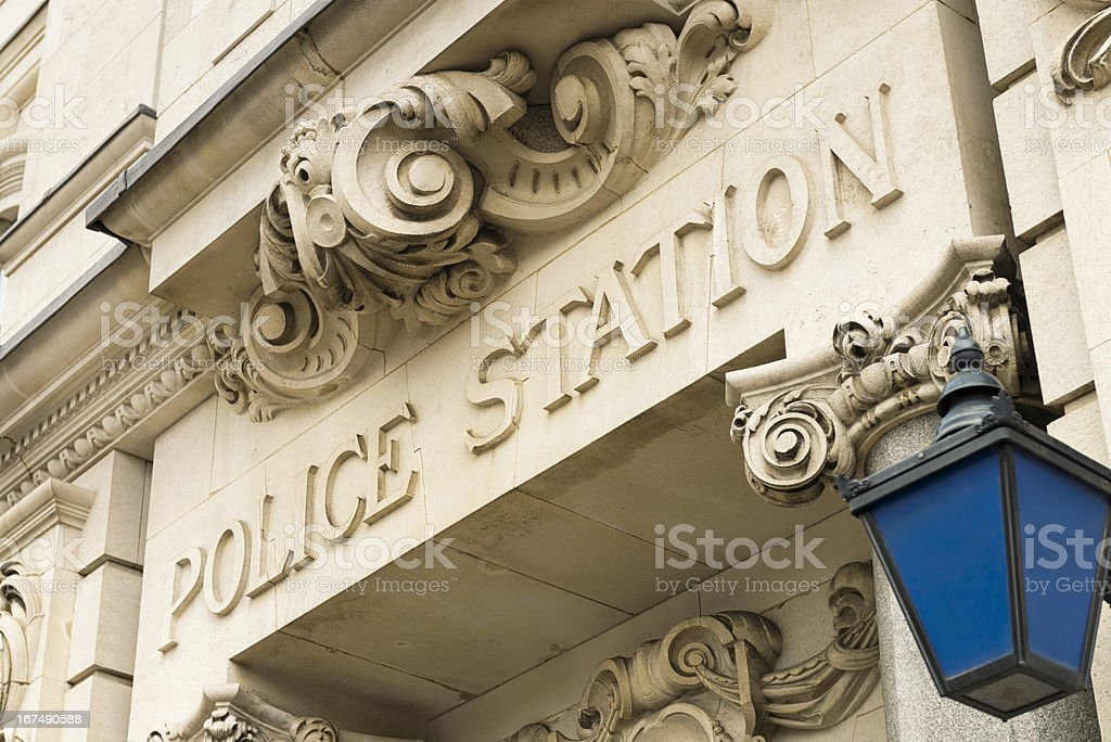 Traditional Police Station Sign and Lantern stock photo