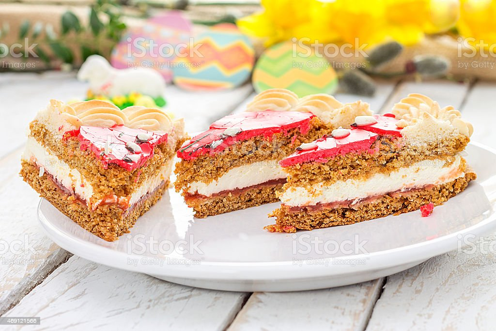 Traditional Polish Easter cake. Holiday decoration stock photo