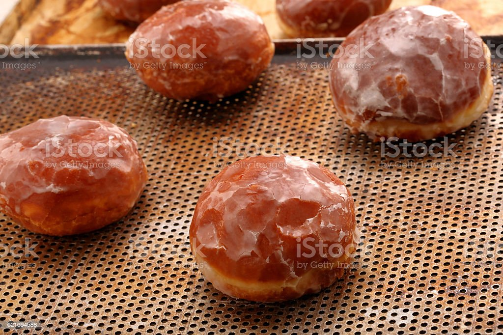 Traditional Polish homemade donuts with jam on Fat Thursday stock photo