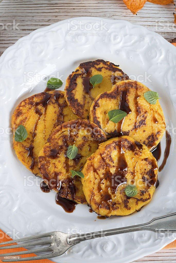 traditional Polish pumpkin yeast pancakes (Racuchy) stock photo