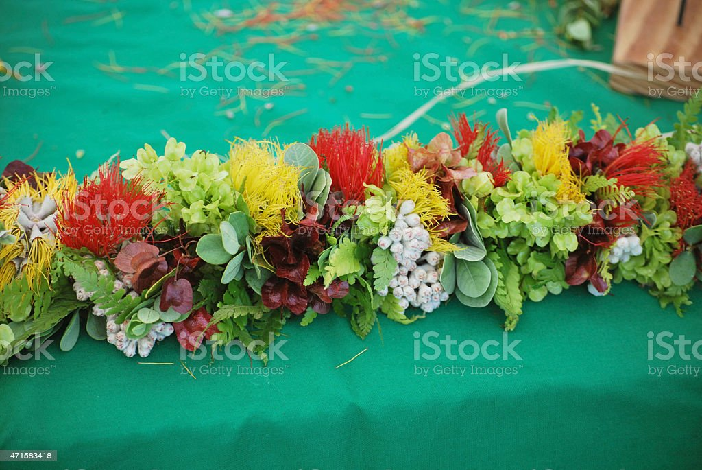 Traditional Polynesian Flower Garland. stock photo