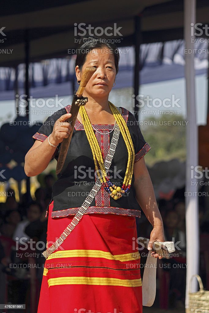 Traditional Ponung Dance of Adi tribes stock photo