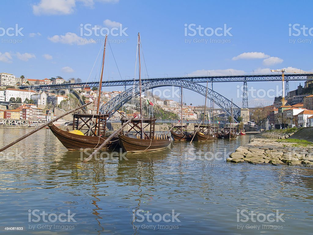 traditional port wine boats, Porto, Portugal stock photo