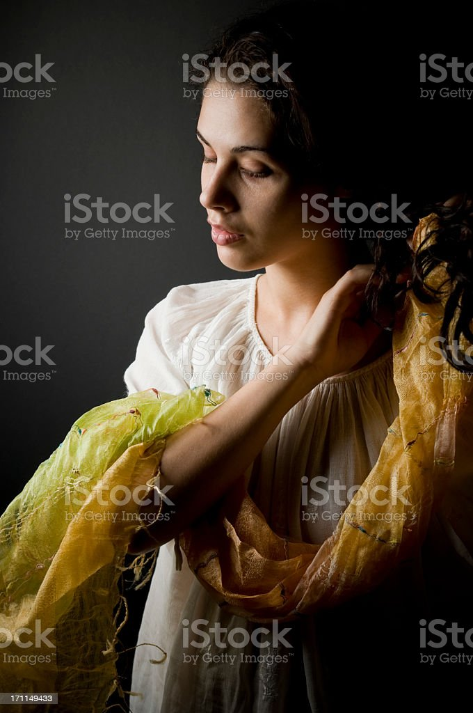 Traditional portrait of a young woman royalty-free stock photo