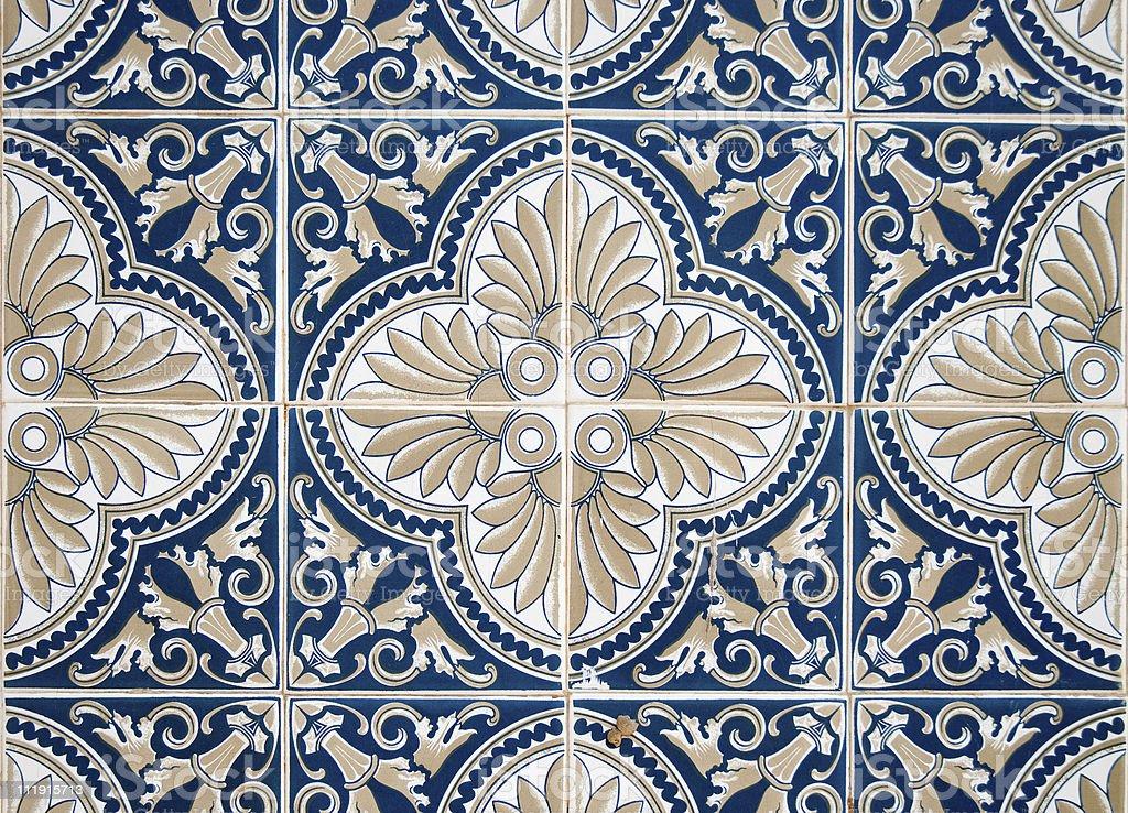 Traditional Portuguese glazed tiles royalty-free stock photo