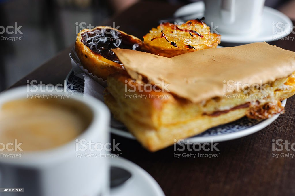 Traditional Portuguese pastry with coffee stock photo