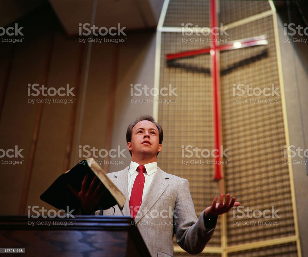 Traditional Protestant / Evangelical Preacher stock photo