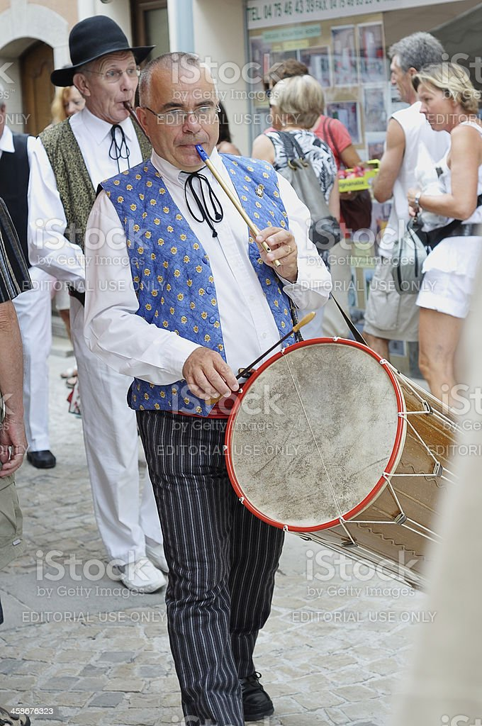 Traditional Provencal drummer stock photo