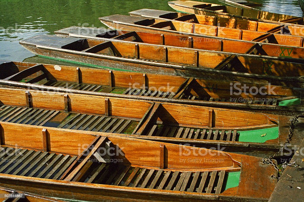 Traditional punts for hire on the river Cam UK stock photo